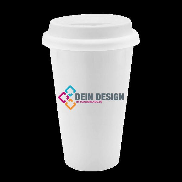 Doppelawandiger Coffee to go Becher aus Porzellan   Werbeartikel