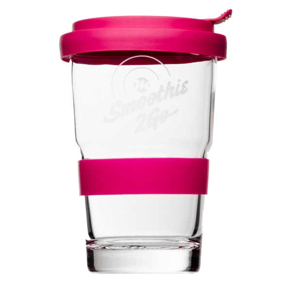 Smoothie to go Trinkglas pink mit Logogravur